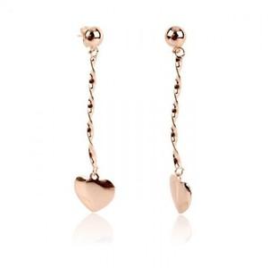 18-K Heart Rose Gold Plated Earrings - Golden