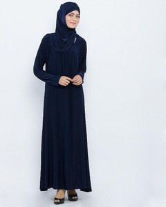 Jersey Front Closed Abaya - Navy Blue