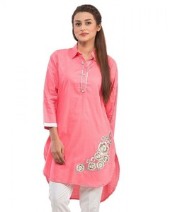 Stitched Embroidered Cotton Kurta - Peach