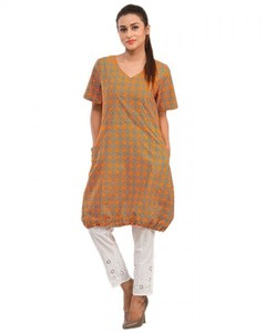 Stitched Printed Cotton Kurta - Orange