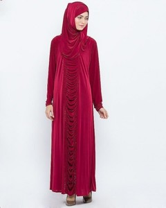 Front Close Style Polyester Abaya With Diamantes - Maroon