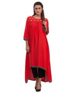 Stitched Embroidered Malai Kurta - Red