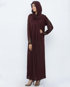 Jersey Front Closed Style Abaya - Dark Brown