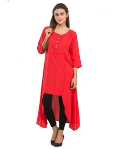 Stitched Malai Kurta - Pearl Buttons And Bottom Cut Hemline - Red