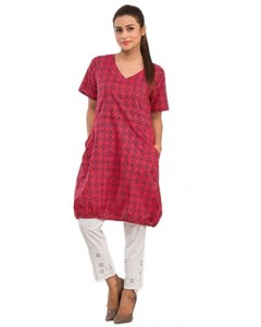 Stitched Printed Cotton Short Kurta - Pink