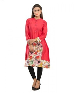 Stitched Cotton Printed Kurta With Front Placket - Red