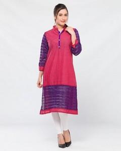 Stitched Lawn Kurta   - Red And Purple
