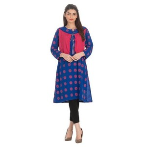 Stitched Malai Printed Kurta With Waist Coat - Royal Blue