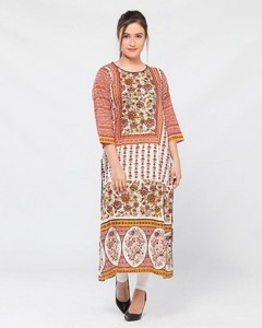 Stitched Lawn Printed Lawn Kurta - Red And Cream