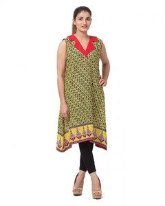 Stitched Lawn Printed Kurta    - Yellow And Pink