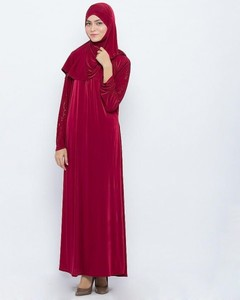 Jersey Front Close Style Abaya - Red