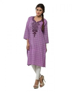 Self Printed Cotton Embroidered Kurta For Women - Purple