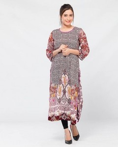 Stitched Lawn Printed Lawn Kurta - Maroon And Pink