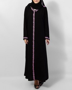 Open Embroidery Polyester Abaya - Black