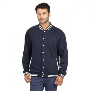 Fleece Baseball Jacket Cotton  - Navy Blue