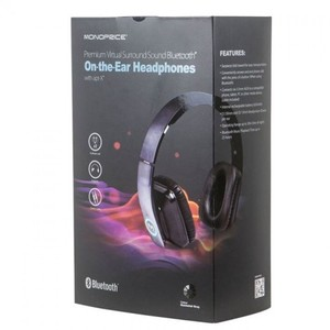 Monoprice Premium Virtual Surround Sound Bluetooth Wireless Headphones - Black