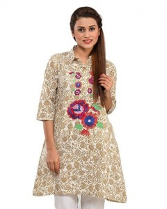 Stitched Lawn Short Embroidered Kurta - Off White