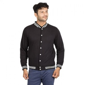 Fleece Baseball Jacket Cotton  - Black