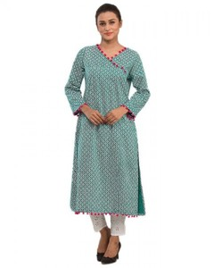 Stitched Printed Cotton Kurta - Sea Green