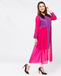 Stitched Printed Lawn Kurta - Outer Layer Of Chiffon - Pink And Purple