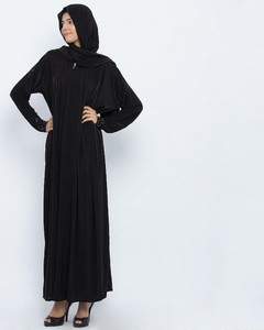Front Closed Style Abaya With Diamantes - Black