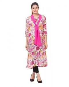 Stitched Chiffon Kurta     - Pink And White