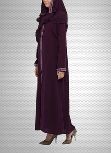 Georgette Front Open Abaya - Dark Brown