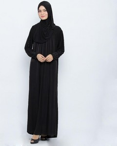 Jersey Front Closed Style Abaya - Black
