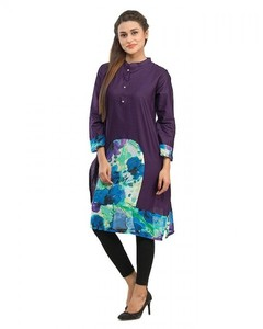 Stitched Cotton Printed Kurta With Front Placket - Purple