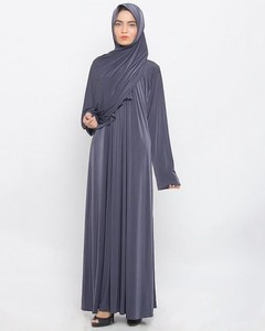 Front Close Piping Polyester Abaya - Dark Grey