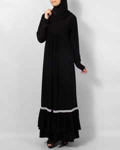 Front Close Piping Polyester Abaya - Black