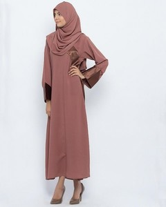 Georgette Front Closed Style Abaya - Brown