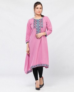 Stitched Lawn Kurta   - Pink