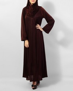 Front Close Plain Abaya - Dark Brown