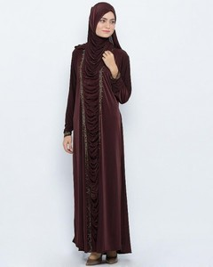 Front Close Style Polyester Abaya With Diamantes - Brown