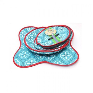 Pack Of 3 Printed Cotton Roti Basket With Cloth and Zip Roti Baskit - Multicolor
