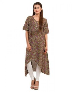 Floral Stitched Cotton Kurta - Bottom Cut Hemline - Brown