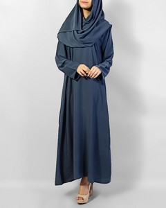 Front Close Plain Abaya Polyester Abaya  - Green