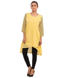 Stitched Malai Kurta With Printed Sleeves - Yellow