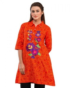 Stitched Lawn Short Embroidered Kurta - Orange