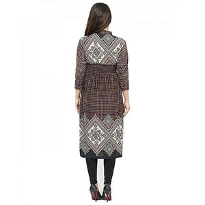 Bindas Collection Viscose Printed Tunic For Women Brown (IL-0176)