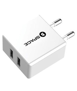 Space Dual Port USB Wall Charger White (WC-101)