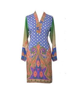 Khas Stores Printed Kurti For Women Blue/Green (DR-203)