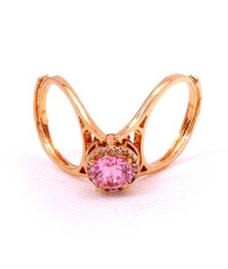 Eshaal Fashion Double Style Pink Stone Womens Gold Plated Ring