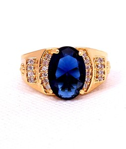 Eshaal Fashion Royal Blue Stone Womens Gold Plated Ring