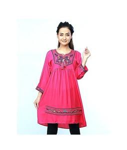 ISEL Embroided Women Ethnic Short Length Kurti Pink (Ck009)