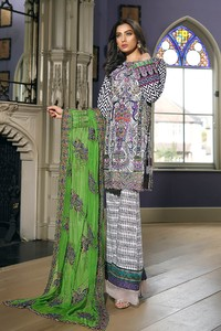 Asim Jofa Embroidered Luxury Lawn Collection 2018 Ash White (AJL-10A)