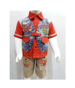 Madina Fashion Cotton Shirt & Coati With Short For Boys