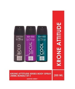 Krone Attitude Collection Body Spray For Men 200ml Pack Of 3