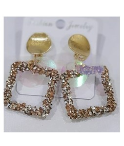 HCT Gold Square Hoop Earrings For Women (0031)